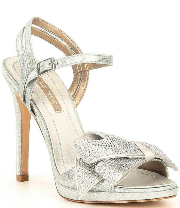 ペレモーダ レディース サンダル シューズ Jem Metallic Suede Crystal Embellished Bow Detail Dress Sandals Silver Metallic Suede