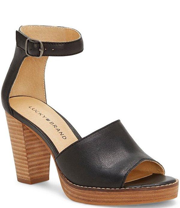 ラッキーブランド レディース サンダル シューズ Nylda Leather Stacked Block Heel Platform Sandals Black
