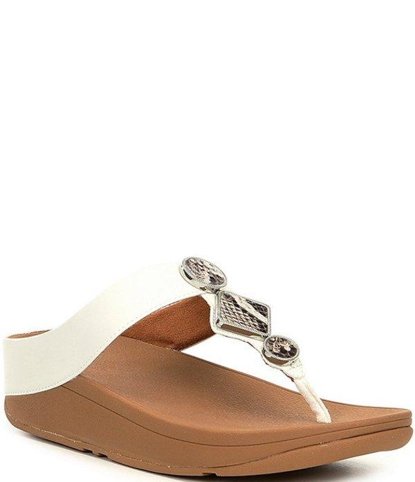 フィットフロップ レディース サンダル シューズ Leia Embellished Leather Toe Thong Sandals White