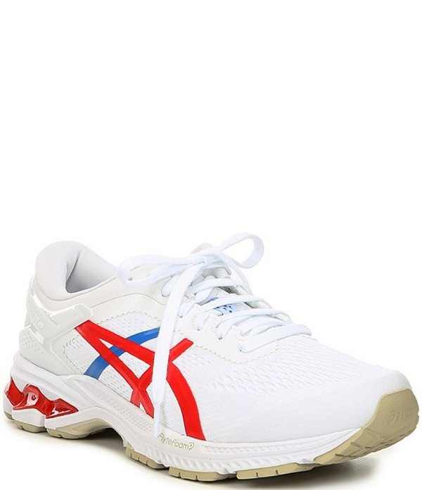 アシックス メンズ スニーカー シューズ Men's GEL-Kayano 26 Running Shoes White/Classic Red