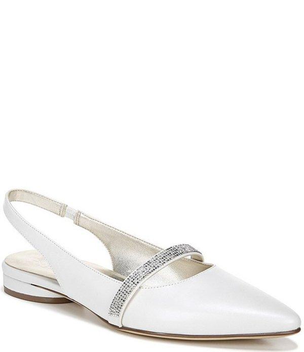 ナチュライザー レディース パンプス シューズ Hally Leather Dress Sling Back Flats White