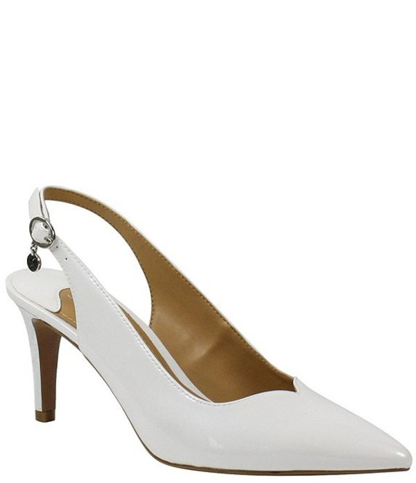 ジェイレニー レディース ヒール シューズ Belamie Patent Slingback Pointed Toe Pumps White Pearl