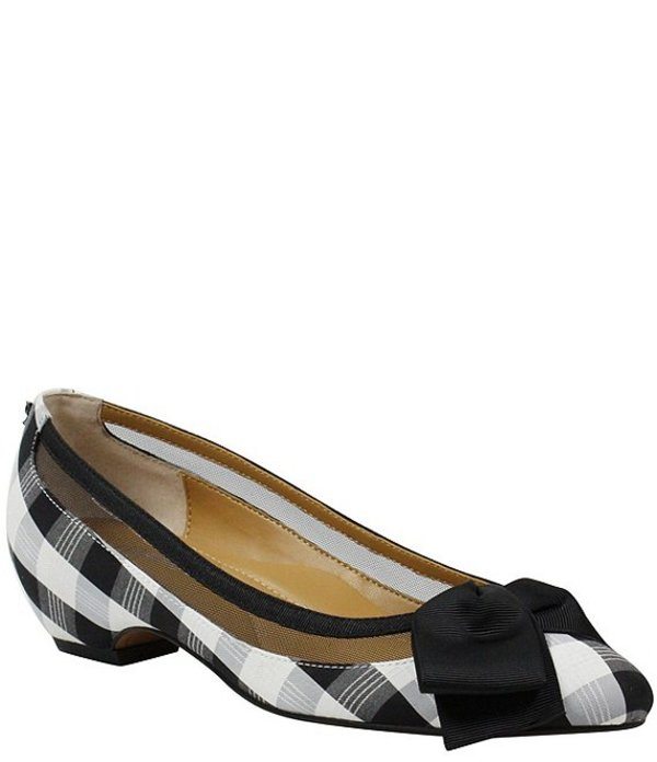 ジェイレニー レディース ヒール シューズ Taroona Gingham Print Bow Detail Block Heel Pumps Black/White Gingham