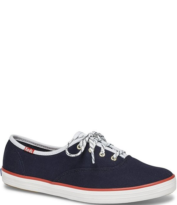 ケッズ レディース スニーカー シューズ Champion Varsity Seasonal Canvas Lace-Up Sneakers Navy