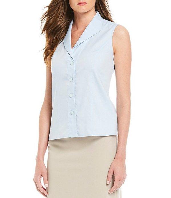 カルバンクライン レディース シャツ トップス Wrinkle-Free Pinpoint Oxford Sleeveless Blouse Blue