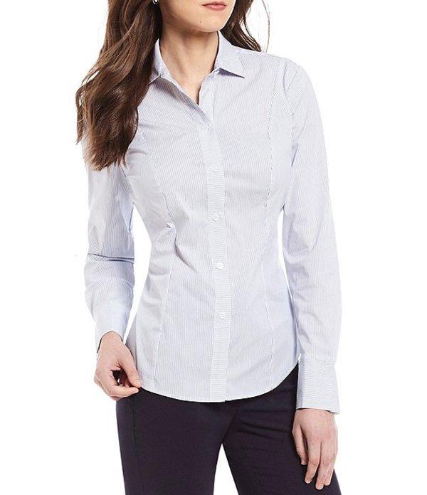 アントニオ メラーニ レディース シャツ トップス Hannah Pinstripe Pleated Long Sleeve Blouse Blue/White
