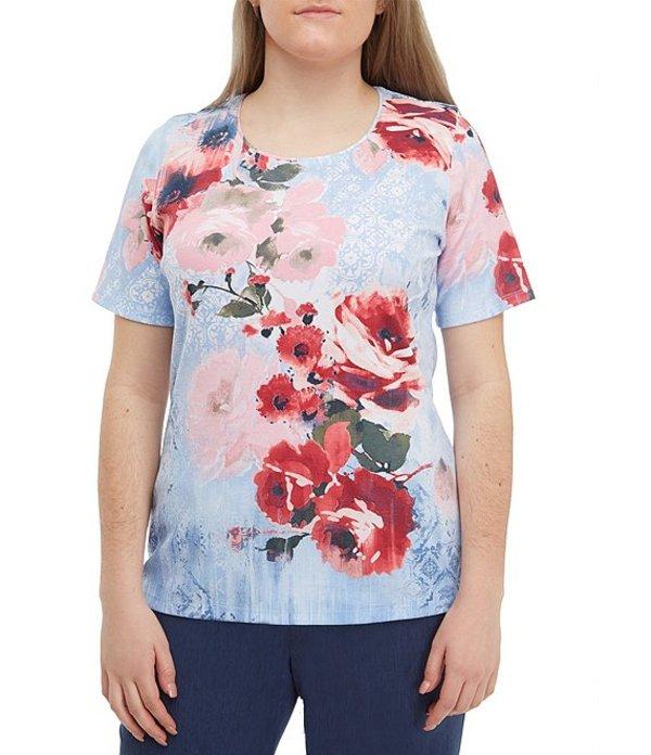 アリソン デイリー レディース Tシャツ トップス Petite Size Crew Neck Floral Mixed Print Jersey Top Blue Texture Floral