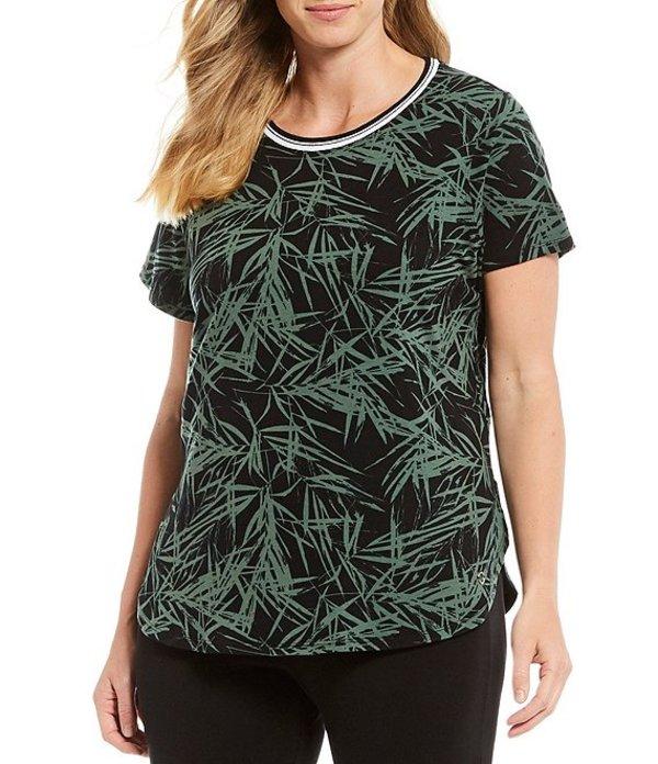 カルバンクライン レディース Tシャツ トップス Performance Plus Size Bamboo Secret Print Crew Neck Knit Jersey Tee Bamboo Rainforest