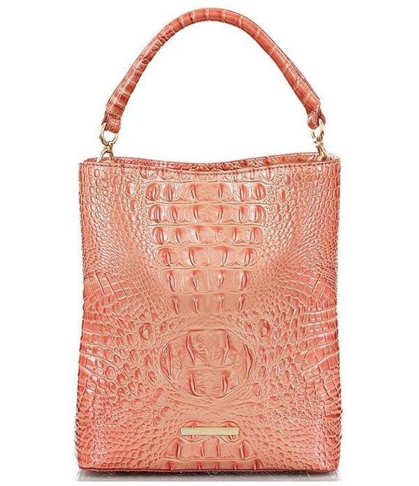 ブランミン レディース ショルダーバッグ バッグ Melbourne Collection Crocodile-Embossed Amelia Bucket Bag Bellini