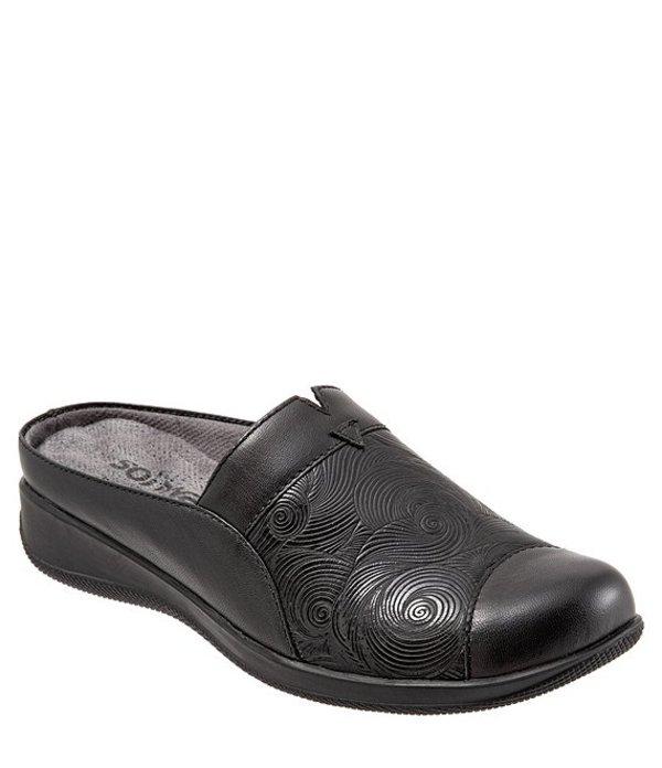 ソフトウォーク レディース パンプス シューズ San Marcos Embossed Leather Wedge Mules Black