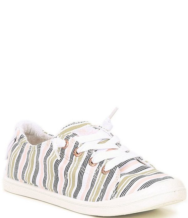 ロキシー レディース スニーカー シューズ Bayshore III Striped Canvas Slip On Sneakers Novelle Peach