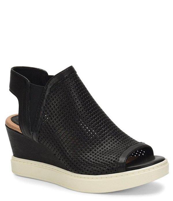 ソフト レディース サンダル シューズ Basima Perforated Leather Slip On Sporty Wedges Black