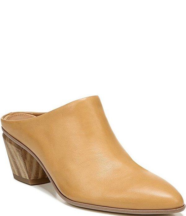 フランコサルト レディース サンダル シューズ Sarto By Franco Sarto Kirsten Leather Wood Block Heel Mules Camel