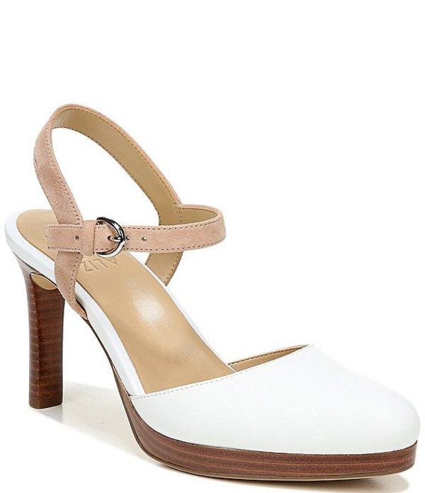 ナチュライザー レディース パンプス シューズ Tulip Leather and Suede Ankle Strap Pumps White/Nude