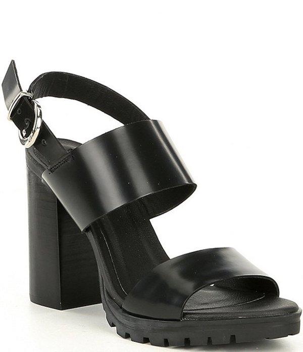 日本製 スティーブ マデン レディース サンダル シューズ Emil Leather Lug Sole Block Heel Sandals Black, ケンタウロス 4054642d