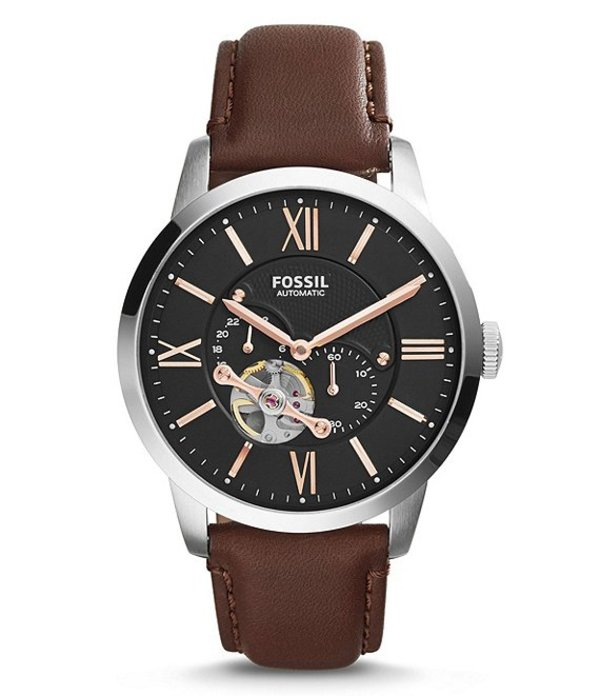 フォッシル メンズ 腕時計 アクセサリー Townsman Automatic/Multifunction Brown Leather Watch Brown