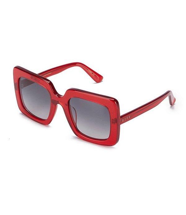 ディフアイウェア レディース サングラス・アイウェア アクセサリー Sasha Thick Square Oversized Sunglasses Burgundy