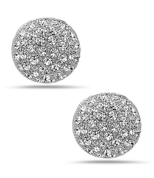 ニナ レディース ピアス・イヤリング アクセサリー Angelee Pave Button Stud Earrings Silver