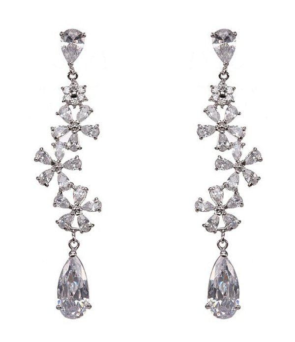 ニナ レディース ピアス・イヤリング アクセサリー Mandy Flower Cluster Long CZ Drop Earrings Silver/Crystal