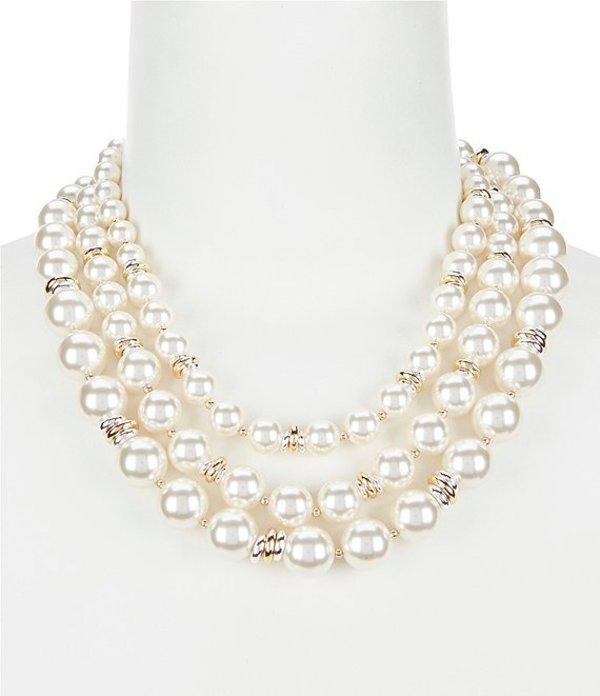 アンクライン レディース ネックレス・チョーカー アクセサリー Pearl Multi Stand Necklace Gold