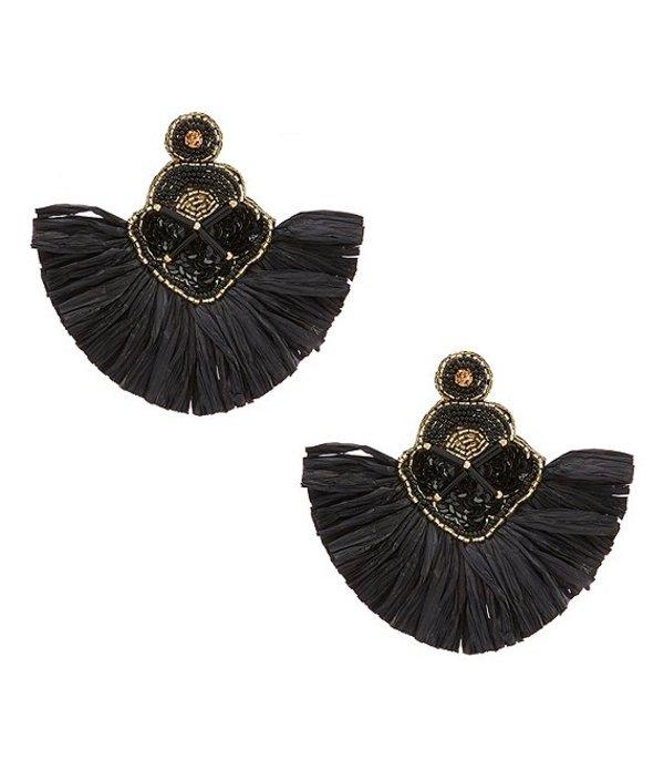 ナターシャ アクセサリー レディース ピアス・イヤリング アクセサリー Raffia Statement Earrings Black