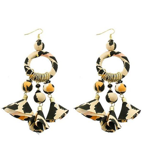 パナセラ レディース ピアス・イヤリング アクセサリー Leopard Print Fabric Chandelier Earrings Multicolor
