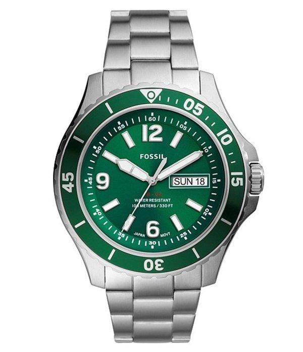 フォッシル メンズ 腕時計 アクセサリー FB-02 Three-Hand Date Green Dial Stainless Steel Watch Silver