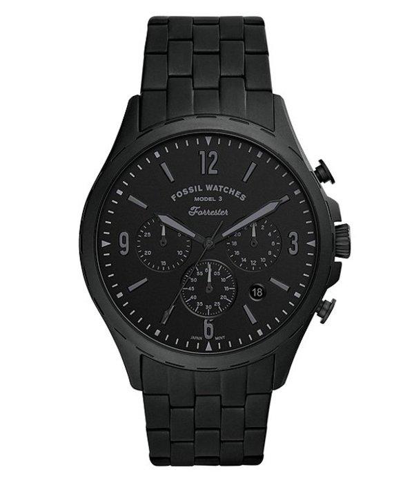 フォッシル メンズ 腕時計 アクセサリー Forrester Chronograph Black Stainless Steel Watch Black