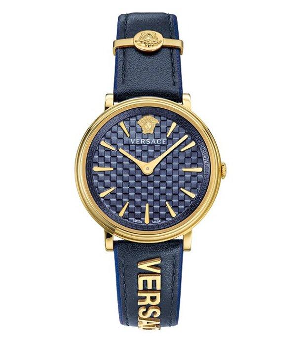 ヴェルサーチ メンズ 腕時計 アクセサリー V-Circle Logomania Blue Calf Leather Watch Blue