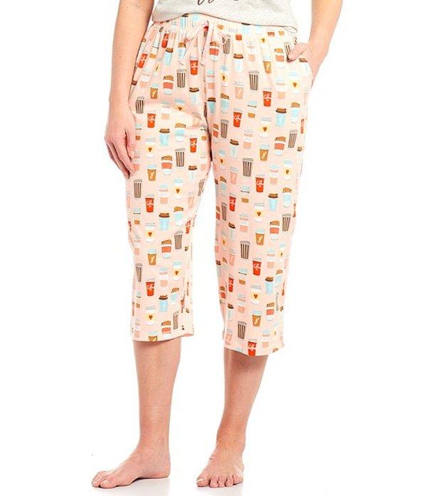 スリープ センス レディース カジュアルパンツ ボトムス Plus Coffee Cup Print Knit Capri Sleep Pants Rose Quartz