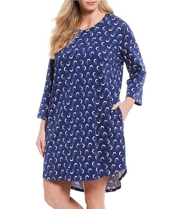 スリープ センス レディース ナイトウェア アンダーウェア Plus Moon Print Knit Sleep Shirt Blue Print