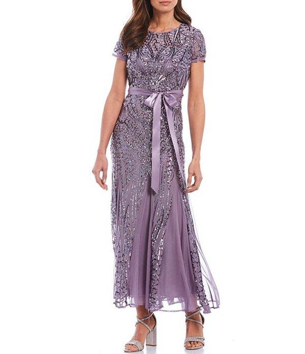 アールアンドエムリチャーズ レディース ワンピース トップス R&M Richards Embroidered Sequin Panel Gown Lavender