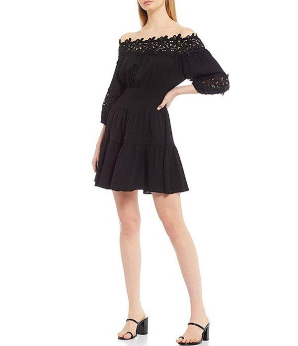 ジャンビニ レディース ワンピース トップス Jason Off-The-Shoulder Smocked Dress Black