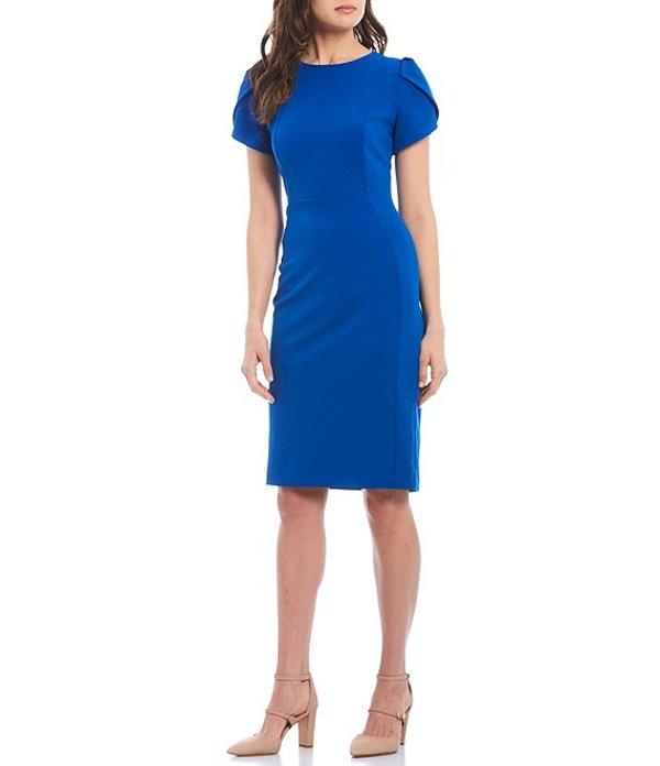 カルバンクライン レディース ワンピース トップス Tulip Sleeve Solid Sheath Stretch Dress Capri