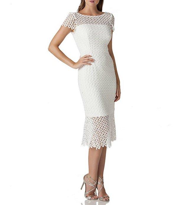 ケイ アンジャー レディース ワンピース トップス Flounce Hem Illusion Lace Cap Sleeve Scalloped Midi Dress White