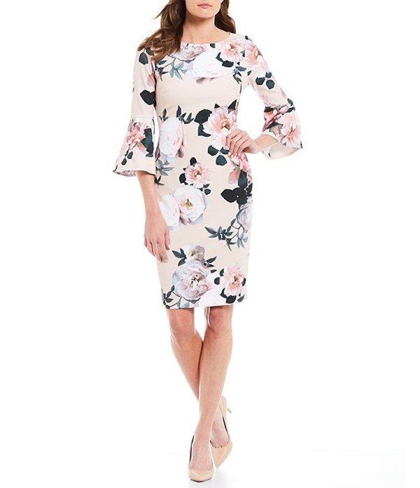 送料無料 サイズ交換無料 カルバンクライン レディース トップス ワンピース Blush Multi カルバンクライン レディース ワンピース トップス Floral Print Bell Sleeve Stretch Sheath Dress Blush Multi