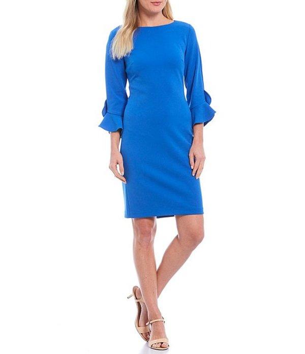 カール ラガーフェルド レディース ワンピース トップス 3/4 Ruffle Tulip Sleeve Crepe Sheath Dress Buckingham Blue