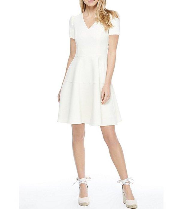 ギャルミーツグラム レディース ワンピース トップス Kate V-Neck Puff Sleeve Fit & Flare Dress Cream