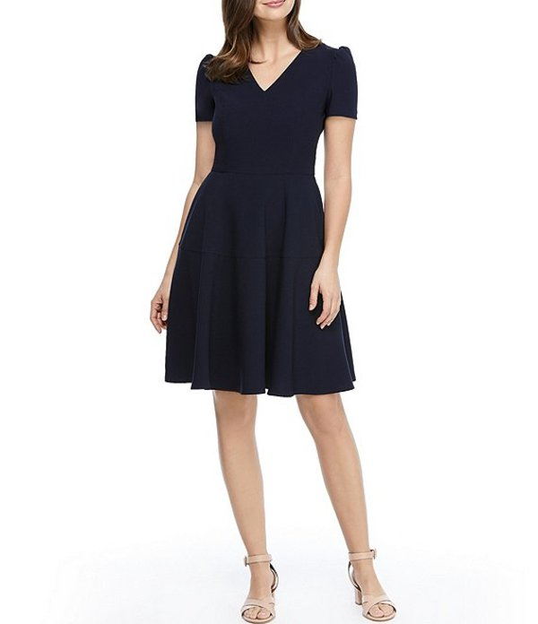 ギャルミーツグラム レディース ワンピース トップス Kate V-Neck Puff Sleeve Fit & Flare Dress Navy