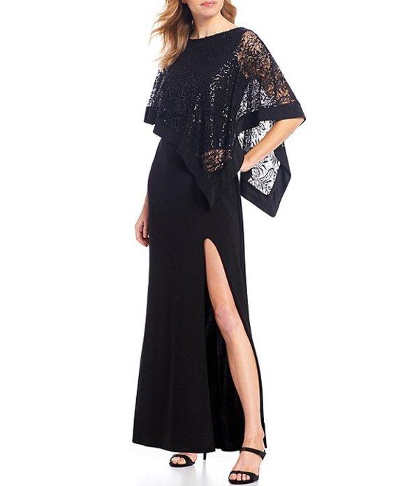 アールアンドエムリチャーズ レディース ワンピース トップス Sequin Lace Poncho Overlay Front Slit Gown Black