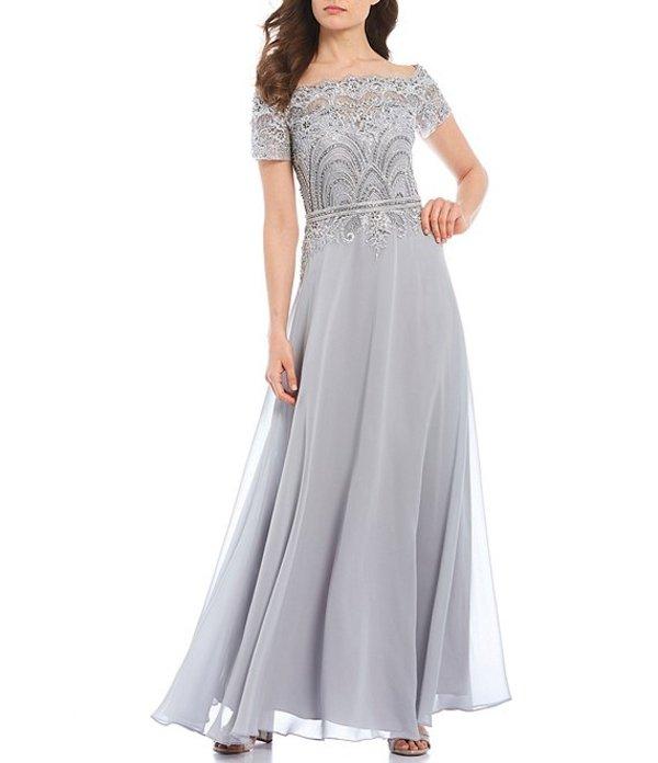 カシェット レディース ワンピース トップス Off-the-Shoulder Short Sleeve Lace Gown Silver