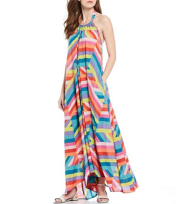 エラン レディース ワンピース トップス Geo Print Halter Neck Low Back Maxi Dress Multi