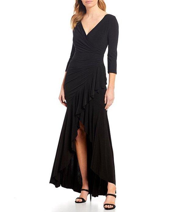 マリナ レディース ワンピース トップス V-Neck Draped Ruffle Hem Long Gown Black