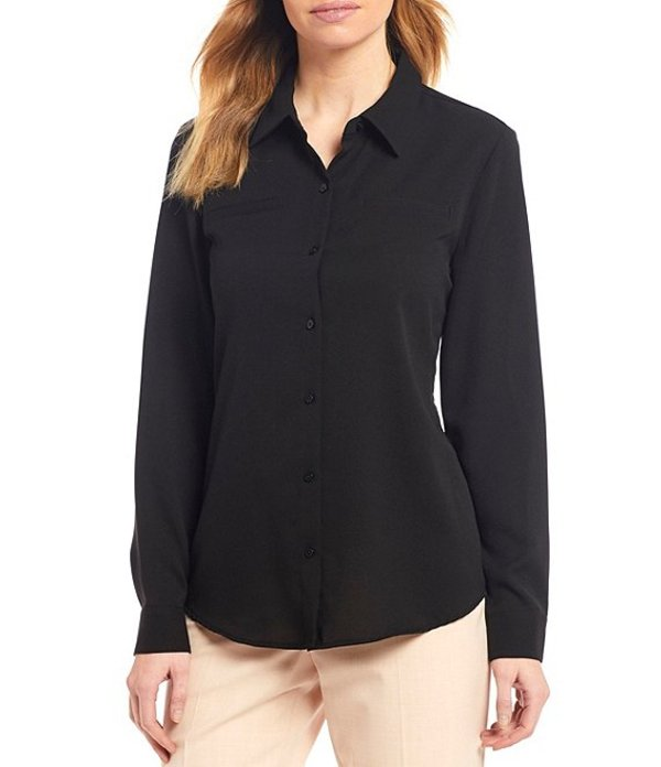 アレックスマリー レディース シャツ トップス Piper Machine Washable Lightweight Soft Crepe de Chine Button Front Top Black
