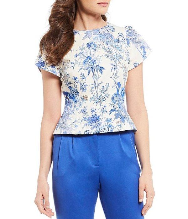 アントニオ メラーニ レディース シャツ トップス Gigi Floral Print Cotton Blend Sateen Short Pleat Detail Sleeve Blouse Ivory/Sky