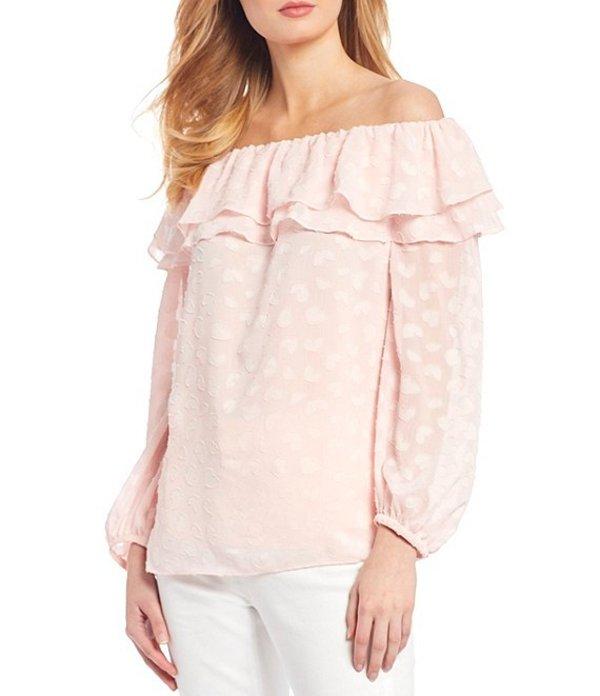 マイケルコース レディース シャツ トップス MICHAEL Michael Kors Petal Burnout Crinkle Georgette Layered Ruffle Off-the-Shoulder Top Pink Wash