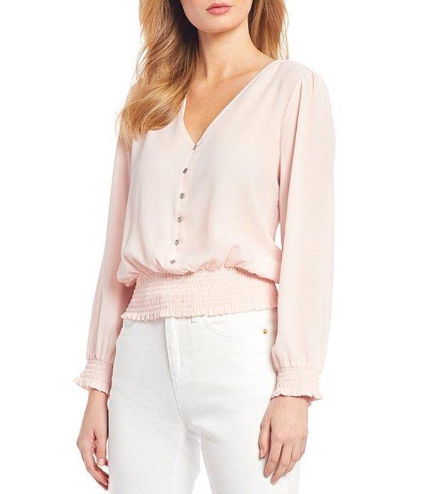 マイケルコース レディース シャツ トップス MICHAEL Michael Kors Textured Crepe V-Neck Long Sleeve Smocked Blouse Pink Wash