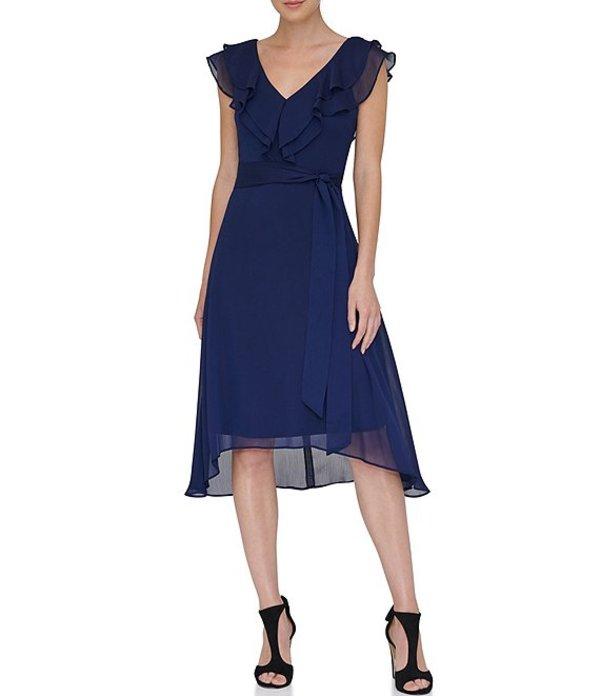 ダナ キャラン ニューヨーク レディース ワンピース トップス V-Neck Double Ruffle Asymmetrical Hem Chiffon Dress Midnight