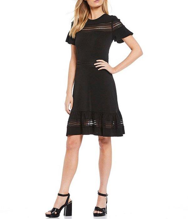 送料無料 サイズ交換無料 マイケルコース レディース トップス ワンピース Black マイケルコース レディース ワンピース トップス MICHAEL Michael Kors Solid Crepe Jersey Mesh Inset A-Line Dress Black