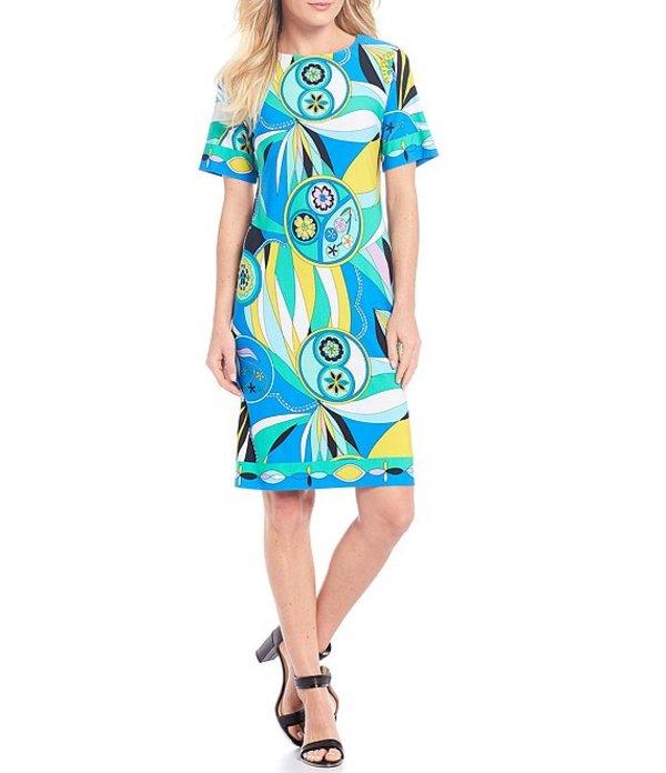 ドナモーガン レディース ワンピース トップス Retro Print Matte Jersey Shift Dress Green/Blue